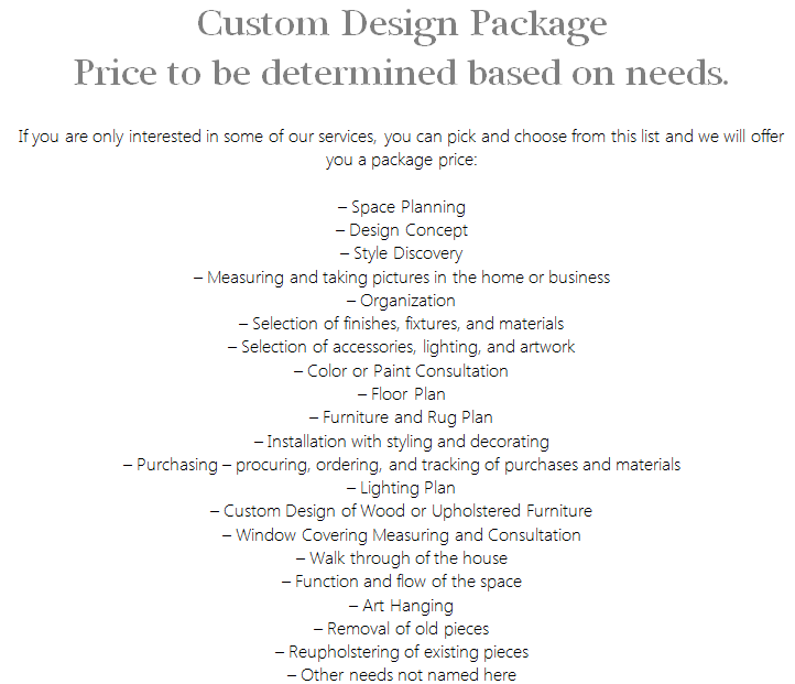 Interior Design Services Custom Package