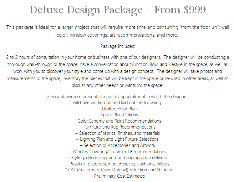Interior Design Services Deluxe Package