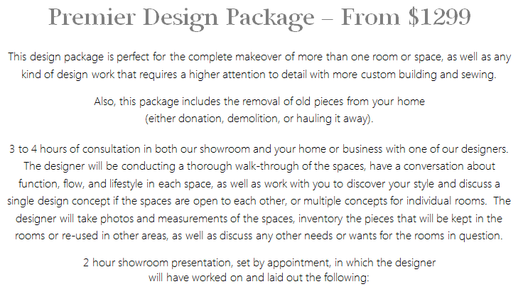 Interior Design Services Premier Package