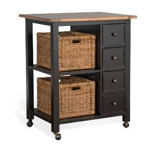 Black & Natural Kitchen Island With Casters