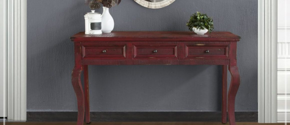 Rivera Sofa Table with Red Currant Finish