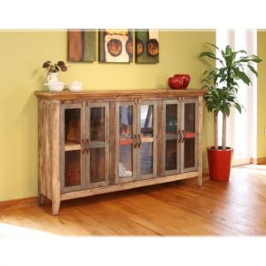 Antique Multicolor Console w/ 6 Glass Doors