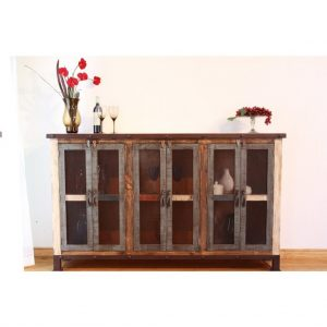 Antique Multicolor Buffet w/ Iron Mesh Doors