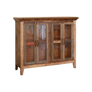 Antique Multicolor Console w/ 4 Glass Doors