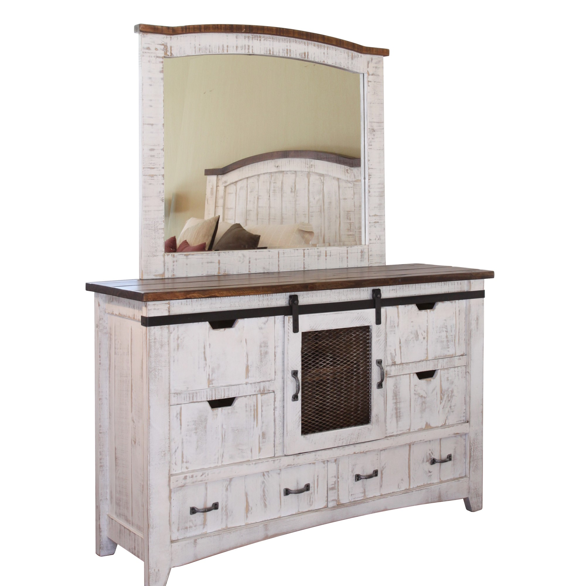Pueblo White Dresser With Mirror Rockridge Furniture Design