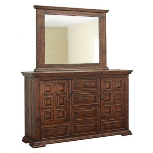 Terra Brown 6 Drawer, 2 Door Dresser with Mirror