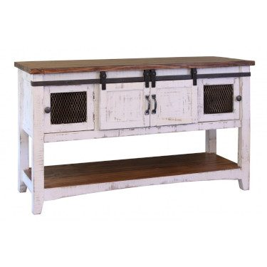 Pueblo White Sofa Table for Storage