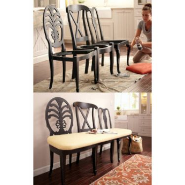 repurposed dining chairs bench