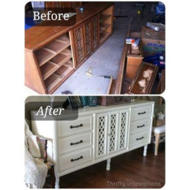 repurposed dresser storage