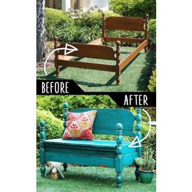 reuse headboard garden bench