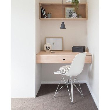 Small Office with Wall Shelves and Lights