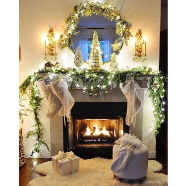 Twinkling Lights on Mantel