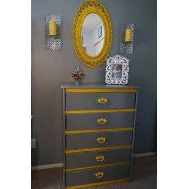 Gray and Yellow furniture